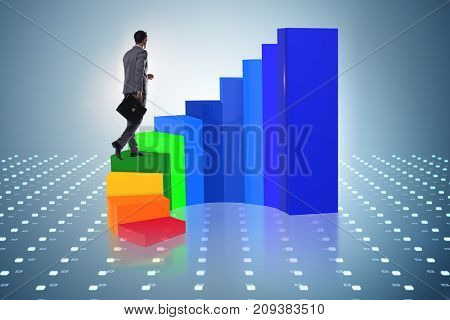 Career development with stairs in business concept