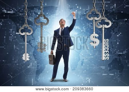 Businessman excited in success and money concept