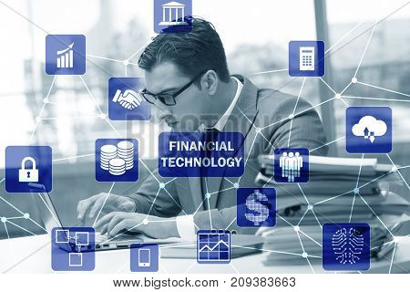 Businesswoman with laptop in financial technology fintech concep