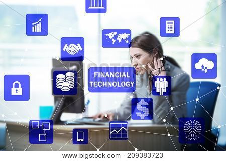 Businesswoman with computer in financial technology fintech conc