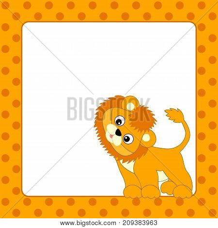 Vector card template with cute lion cub on polka dot background. Card template for baby shower, birthday and party. with space for your text. Card template vector illustration