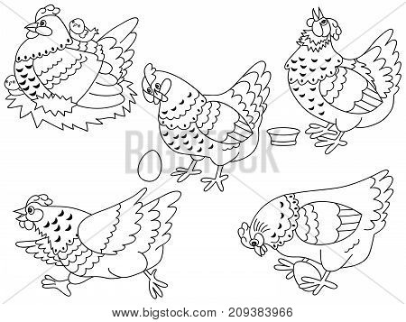 Vector set of black and white cute cartoon hens, chickens and eggs. Vector hen and chicken. Hens and chickens vector  illustration