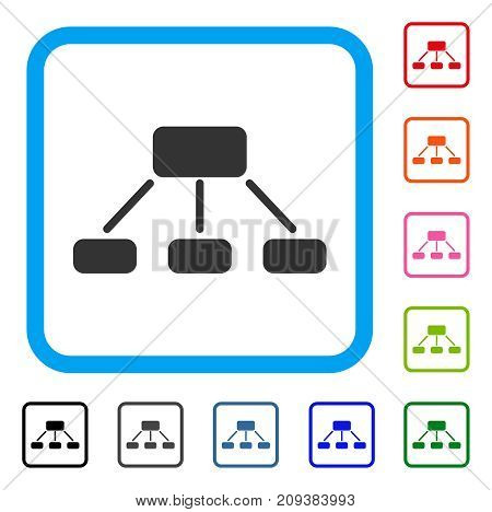 Hierarchy icon. Flat gray iconic symbol in a light blue rounded square. Black, gray, green, blue, red, orange color versions of Hierarchy vector. Designed for web and software user interface.