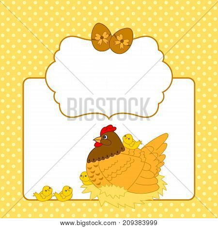 Vector Easter card template with chickens, hen, eggs on polka dot background with space for your text. Easter card template vector illustration