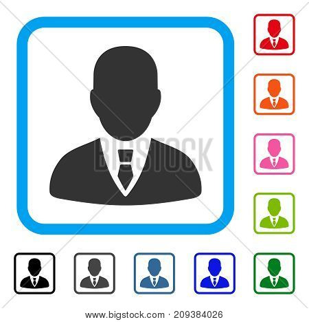 Manager icon. Flat grey pictogram symbol in a light blue rounded rectangle. Black, gray, green, blue, red, orange color variants of Manager vector. Designed for web and software UI.