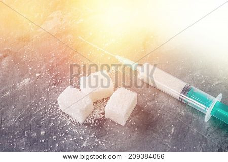 Sugar In A Syringe. Conceptual Depiction Of Dependence On The Sweet. Sugar Is A Drug. Injection Of S
