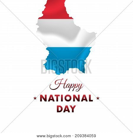 Luxembourg National Day. Luxembourg map. Vector illustration.