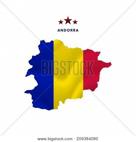 Andorra map with waving flag. Vector illustration.