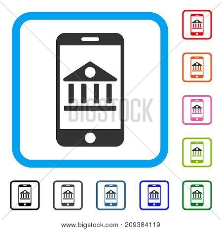 Mobile Bank icon. Flat grey pictogram symbol inside a light blue rounded square. Black, gray, green, blue, red, orange color additional versions of Mobile Bank vector.