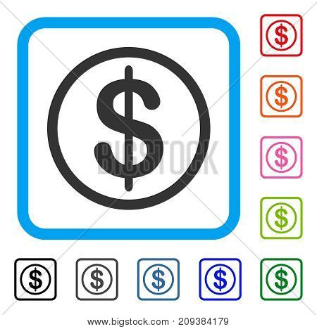Money icon. Flat gray iconic symbol in a light blue rounded rectangular frame. Black, gray, green, blue, red, orange color additional versions of Money vector.