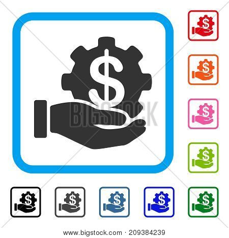 Payment Options Service Hand icon. Flat gray pictogram symbol in a light blue rounded square. Black, gray, green, blue, red, orange color versions of Payment Options Service Hand vector.
