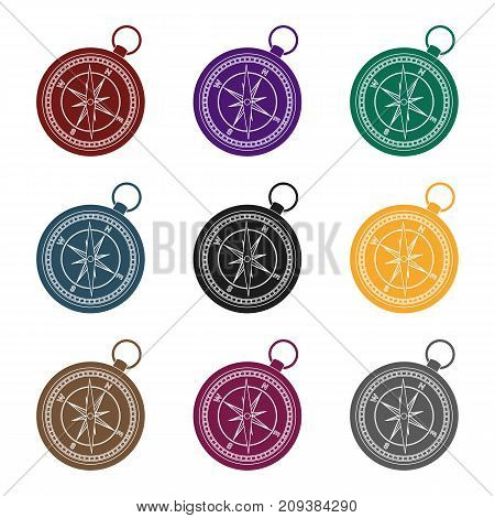 Compass icon in black design isolated on white background. Rest and travel symbol stock vector illustration.