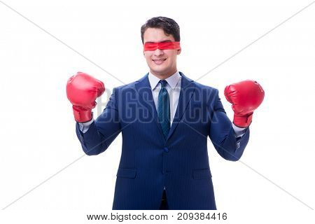 Lawyer with blindfold wearing boxing gloves isolated on white
