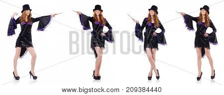 Pretty girl in purple carnival clothing and hat isolated on whit