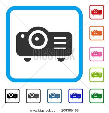 Projector icon. Flat grey pictogram symbol inside a light blue rounded rectangle. Black, gray, green, blue, red, orange color variants of Projector vector. Designed for web and software UI.