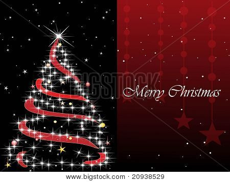 abstract halftone background with decorated xmas tree
