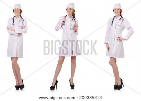 Attractive woman doctor  with stetothcope isolated on white