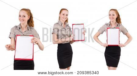 Attractive businesswoman  with binder  isolated on white