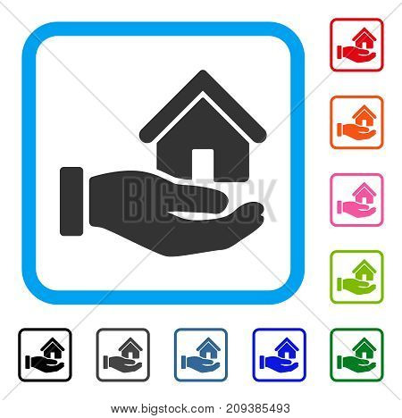 Real Estate Offer Hand icon. Flat grey iconic symbol in a light blue rounded squared frame. Black, gray, green, blue, red, orange color variants of Real Estate Offer Hand vector.