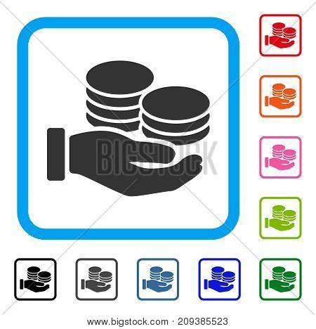 Salary Hand icon. Flat grey pictogram symbol in a light blue rounded square. Black, gray, green, blue, red, orange color versions of Salary Hand vector. Designed for web and app UI.