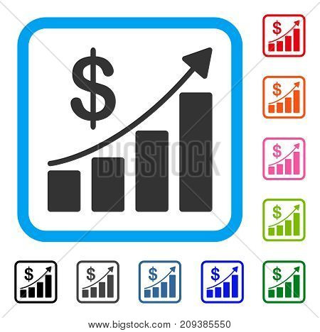 Sales Growth icon. Flat gray pictogram symbol in a light blue rounded rectangle. Black, gray, green, blue, red, orange color versions of Sales Growth vector. Designed for web and application UI.