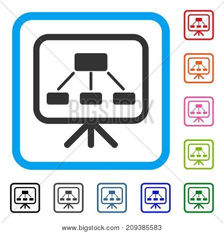 Scheme Demonstration Screen icon. Flat gray iconic symbol inside a light blue rounded frame. Black, gray, green, blue, red, orange color versions of Scheme Demonstration Screen vector.