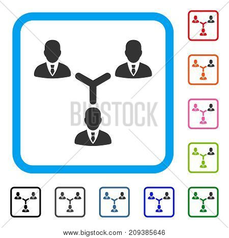 Teamwork icon. Flat grey iconic symbol in a light blue rounded frame. Black, gray, green, blue, red, orange color additional versions of Teamwork vector. Designed for web and app interfaces.