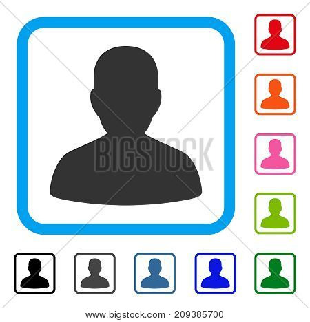 User Account icon. Flat grey pictogram symbol inside a light blue rounded rectangle. Black, gray, green, blue, red, orange color versions of User Account vector. Designed for web and app UI.