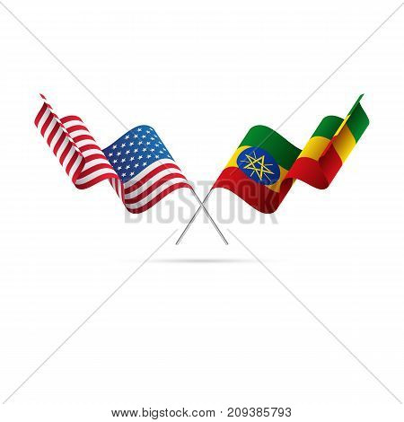 USA and Ethiopia flags. Waving flags. Vector illustration.