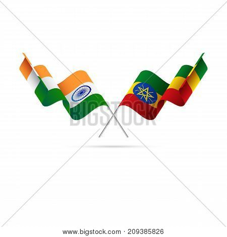 India and Ethiopia flags. Waving flags. Vector illustration.