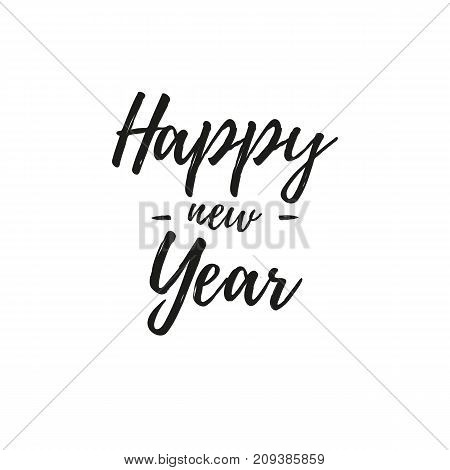 Happy new year sign. Black text. Vector illustration.