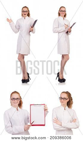 Young medical  student with binder talking on a cell  isolated o
