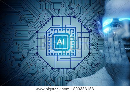 Artificial intelligence concept with woman
