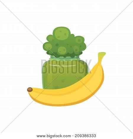 fruit organic broccoli jam and smoothie with banana vector illustration