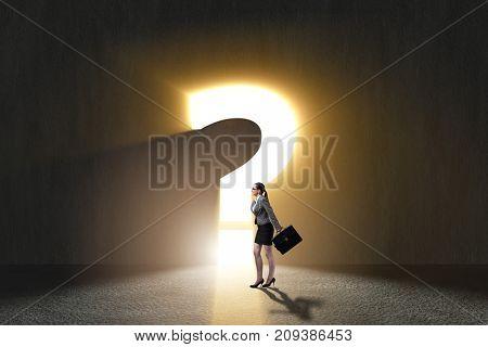 Businesswoman facing difficult choice dilemma
