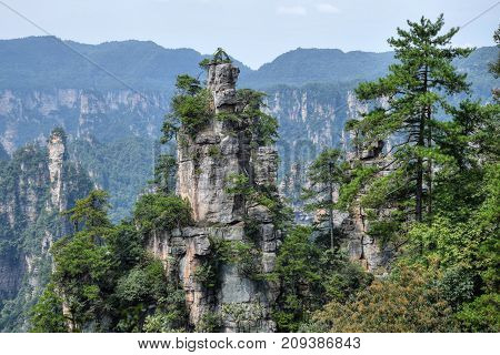 Picturesque landscape of Zhangjiajie mountain in Hunan province in China where the movie Avatar was shooted.