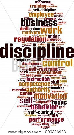Discipline word cloud concept. Vector illustration on white
