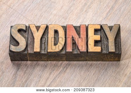 Sydney  word abstract in vintage letterpress wood type