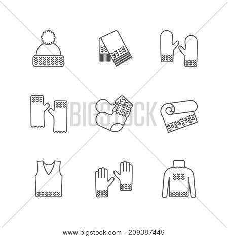 Winter warm knitted clothes icon set. Knitted samples thin line warm woolen things. Hat, scarf, mittens, waistcoat, plaid and other hand-knitted garments. Knit thin line pictograms.