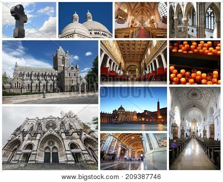 Collage with beautiful Catholic cathedrals, interiors, candles