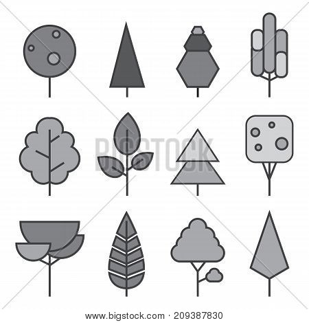 Set of vector line Trees. Forest creative icons.