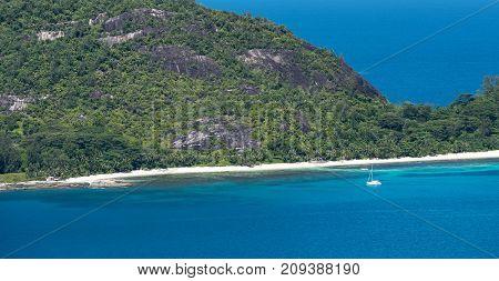 Aerial view of Mahe island coastline Seychelles
