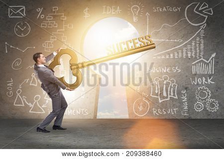 Businessman with key to success business concept