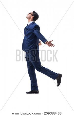 Businessman walking standing side view isolated on white backgrond