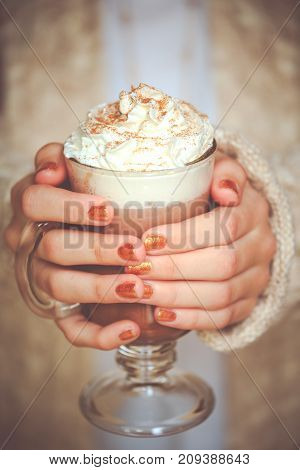 Girl Holding Cacao With Whipped Cream. Christmas Holiday Concept. Holiday Background