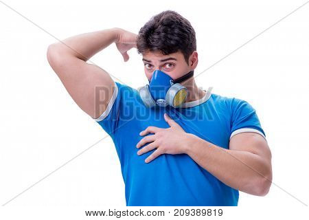 Man sweating excessively smelling bad isolated on white backgrou