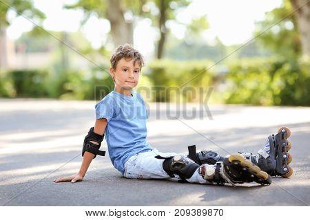 Cute roller skater in park