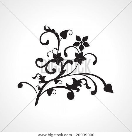 black natural pattern tattoo, vector image