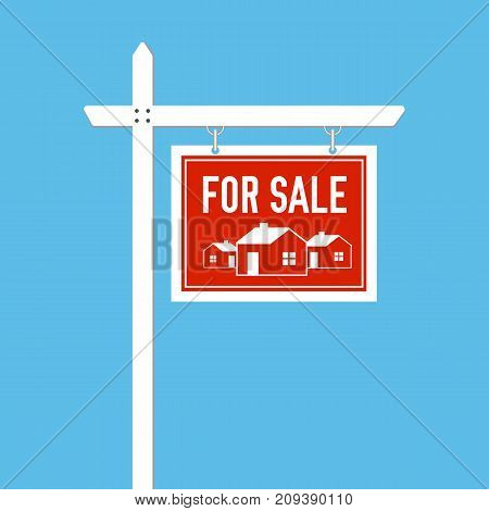 For Sale sign. Estate wooden placard. Home for sale. Buy or rent house. Vector illustration on blue background.