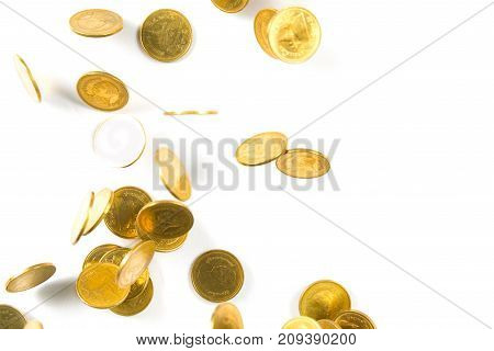 Top View Of Falling Gold Coins Money Isolated On The White Background, Business Concept.
